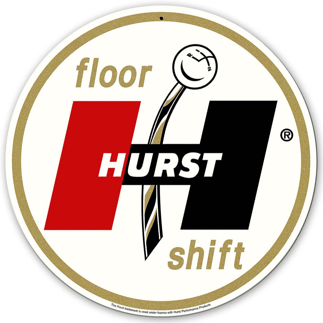 "Hurst Gold Floor Shift Sign 14"" round"
